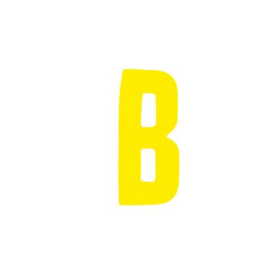 """Αυτοκόλλητο Γράμμα """"Β"""" Κίτρινο 2,5x3cm"""
