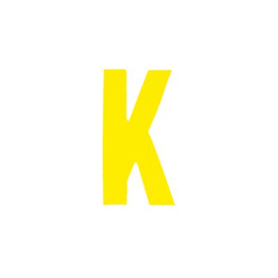 """Αυτοκόλλητο Γράμμα """"Κ"""" Κίτρινο 2,5x3cm"""