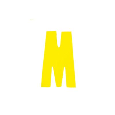 """Αυτοκόλλητο Γράμμα """"Μ"""" Κίτρινο 2,5x3cm"""