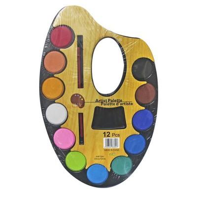 Νερομπογιές 12 χρωμάτων σε παλέτα με πινέλο