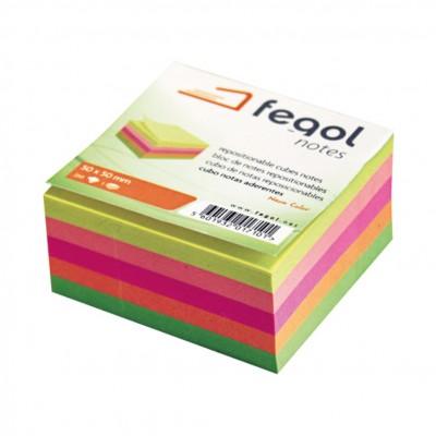 Αυτοκόλλητα Χαρτάκια Κύβος Neon Color 50*50mm FEGOL