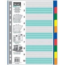 Διαχωριστικά Α4 Χρωματιστά Πλαστικά 10 Θέματα SKAG
