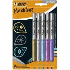 Μαρκαδόροι Ανεξίτηλοι BIC Marking Metallic Color 5τεμ.