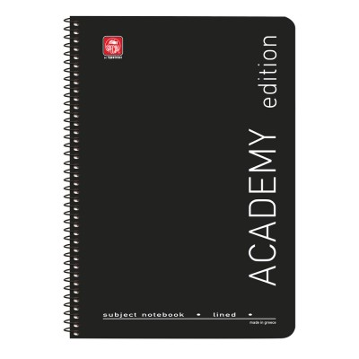 Academy Τετράδιο Σπιράλ A4 2 θεμάτων Μαύρο