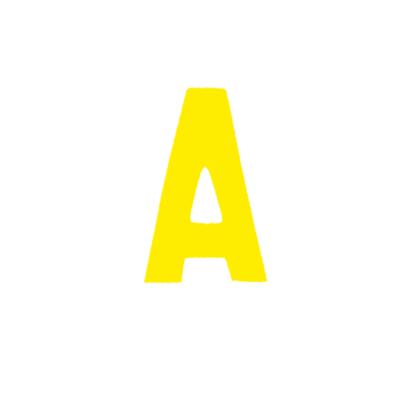 """Αυτοκόλλητο Γράμμα """"Α"""" Κίτρινο 2.5x3cm"""